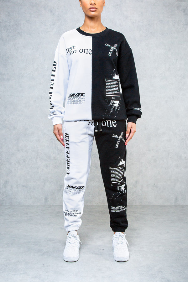 Undefeated Split Graffiti Print Jogger's - Black/White