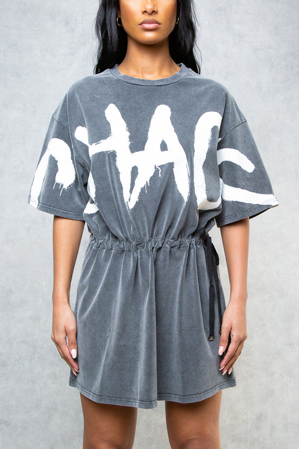 Chaos Oversized Graffiti T-Shirt Dress - Grey