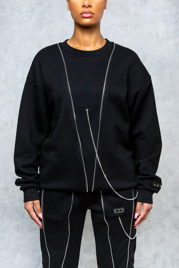 Iced Zip Oversized Sweatshirt - Black