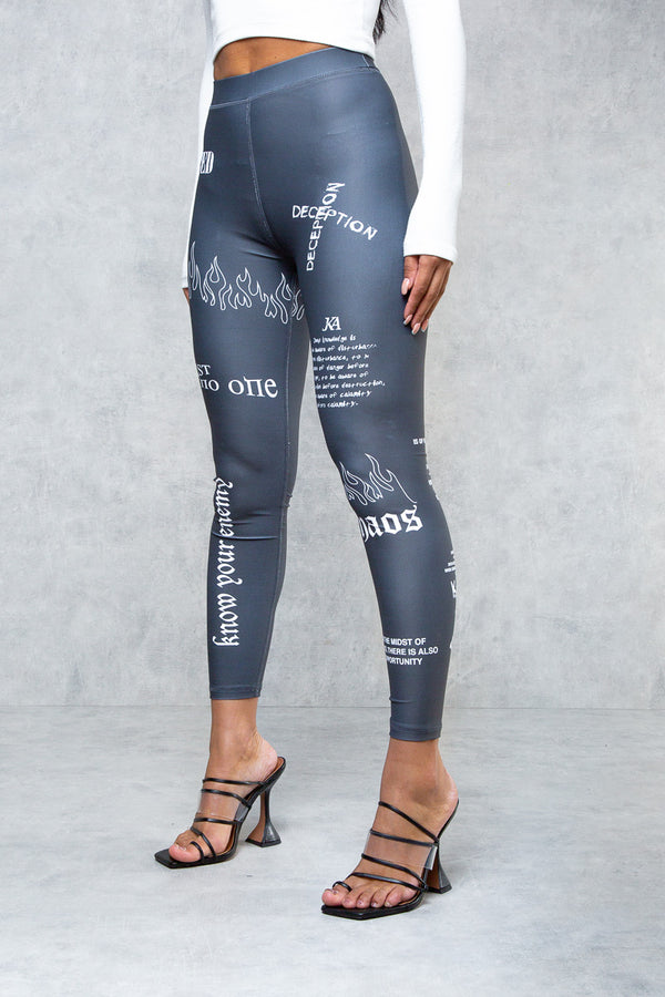 Art Of War Graffiti Leggings - Grey