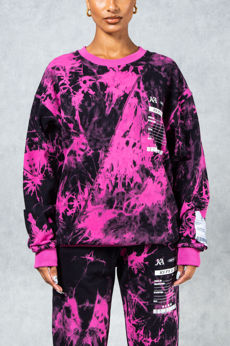 Women's Replica Oversized Sweatshirt Pink - Tye Dye
