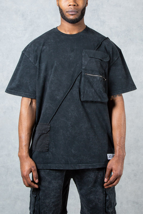 Hermes Stitch Cargo Oversized T-Shirt - Black