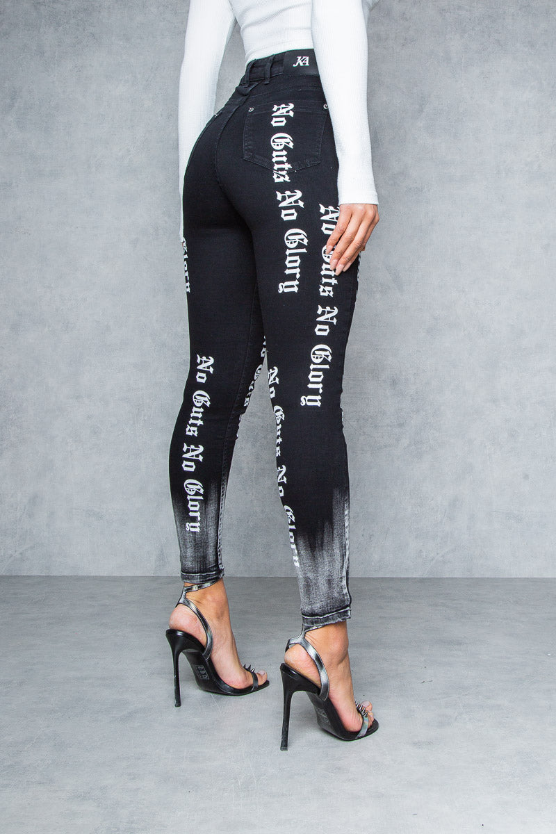 Women's No Guts No Glory Spray On Jean - Black