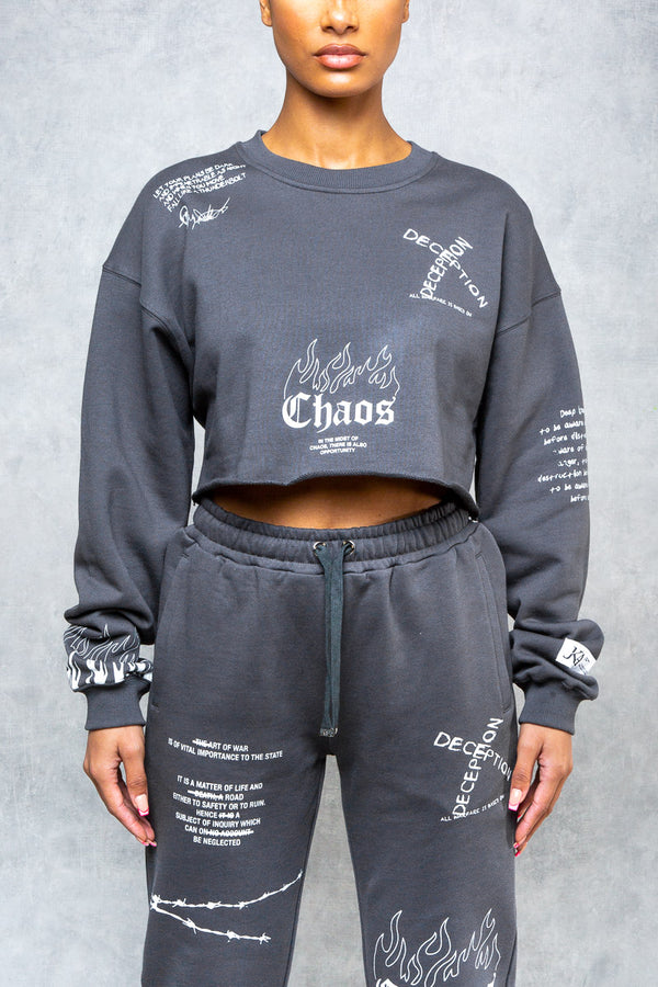 Art Of War Graffiti Print Cropped Sweat - Grey