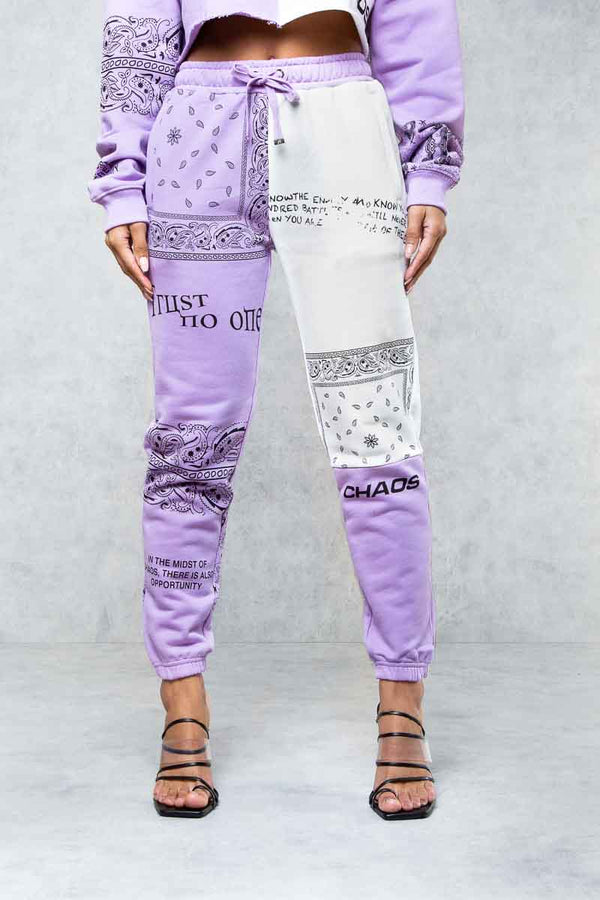 Trust No One Graffiti Print Jogger's - Purple/White