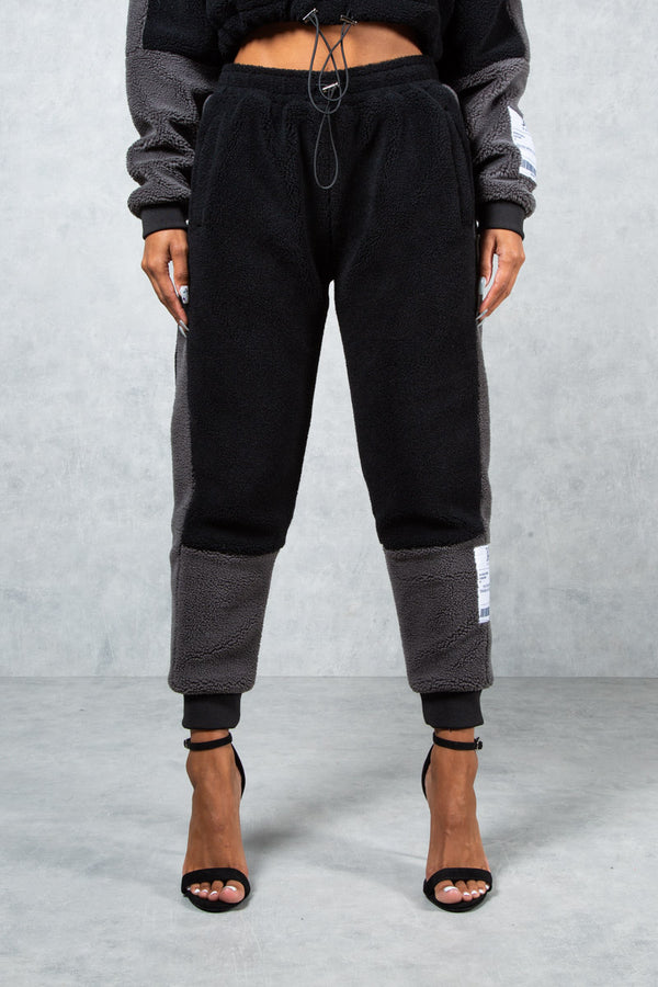 Women's Prime Teddy Fleece Joggers - Black/Grey