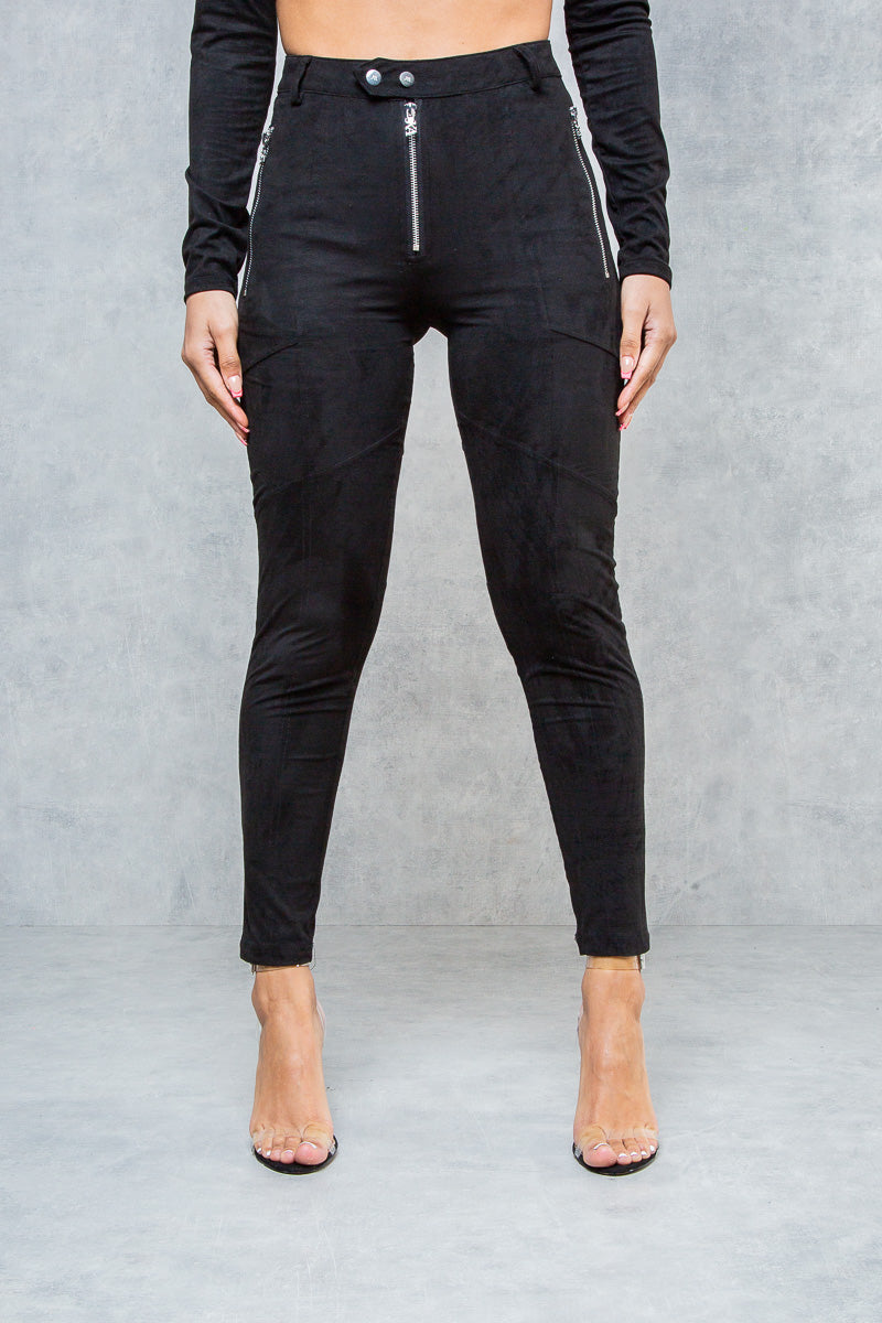 Vicious Suede Leggings - Black