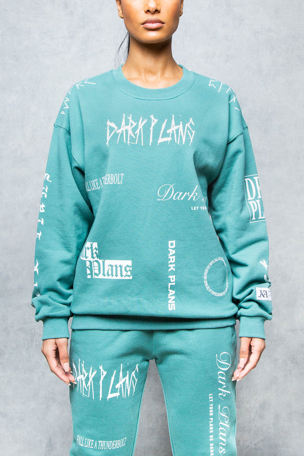 Dark Plans GraffitI Print Sweatshirt - Green