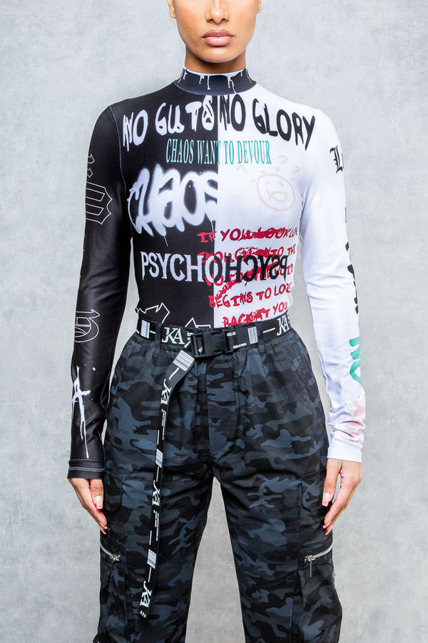 Psycho Graffiti Print Eternal Bodysuit