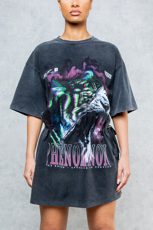 Phenomonon Oversized Tiger Graffiti T-Shirt Dress - Acid Wash