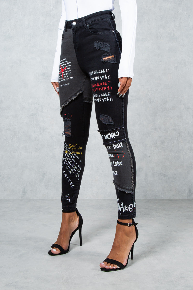 Half Awake Graffiti Print High Waist Skinny Jeans - Black