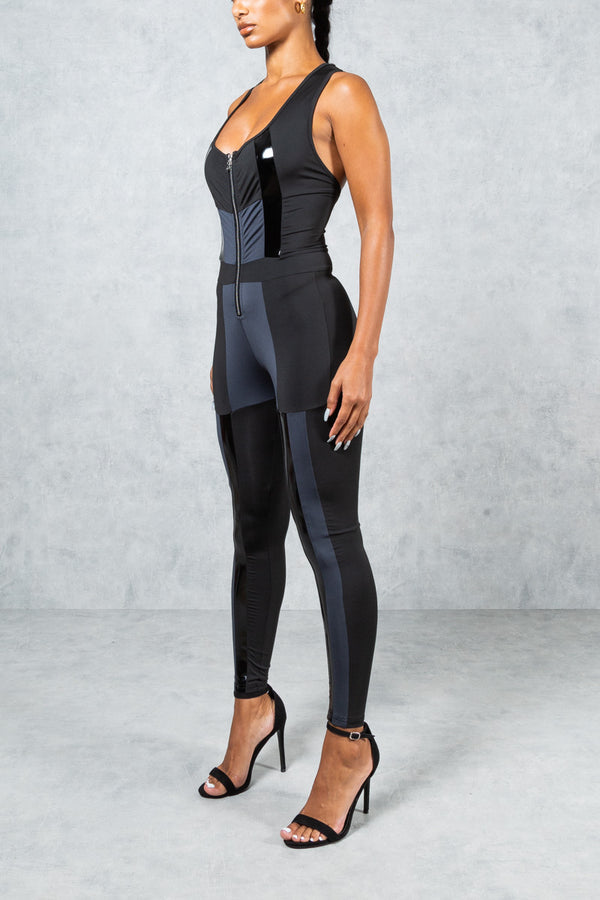 Womens Cut and Sew Jumpsuit - Black