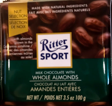 Ritter Milk Chocolate with Whole Almonds