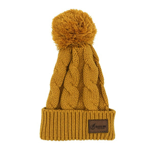 Leather Patch Pom Pom Beanie