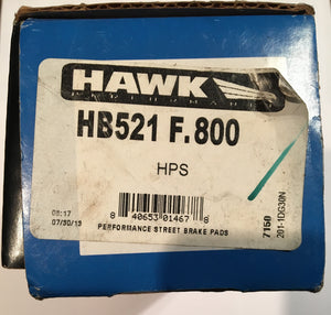 Hawk HB521F.800 Front Or Rear Brake Pads HPS Compound