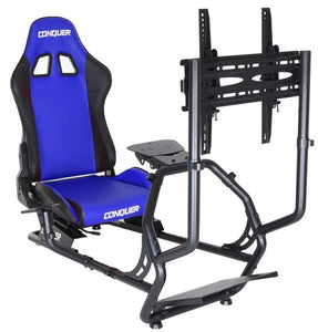 Conquer Driving Simulator with Single Monitor Stand Racing Seat Cockpit, Gaming Chair with Wheel Stand, Gear Shift Mount