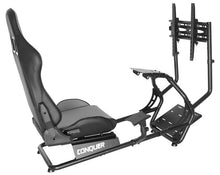 Load image into Gallery viewer, Conquer Driving Simulator with Single Monitor Stand Racing Seat Cockpit, Gaming Chair with Wheel Stand, Gear Shift Mount