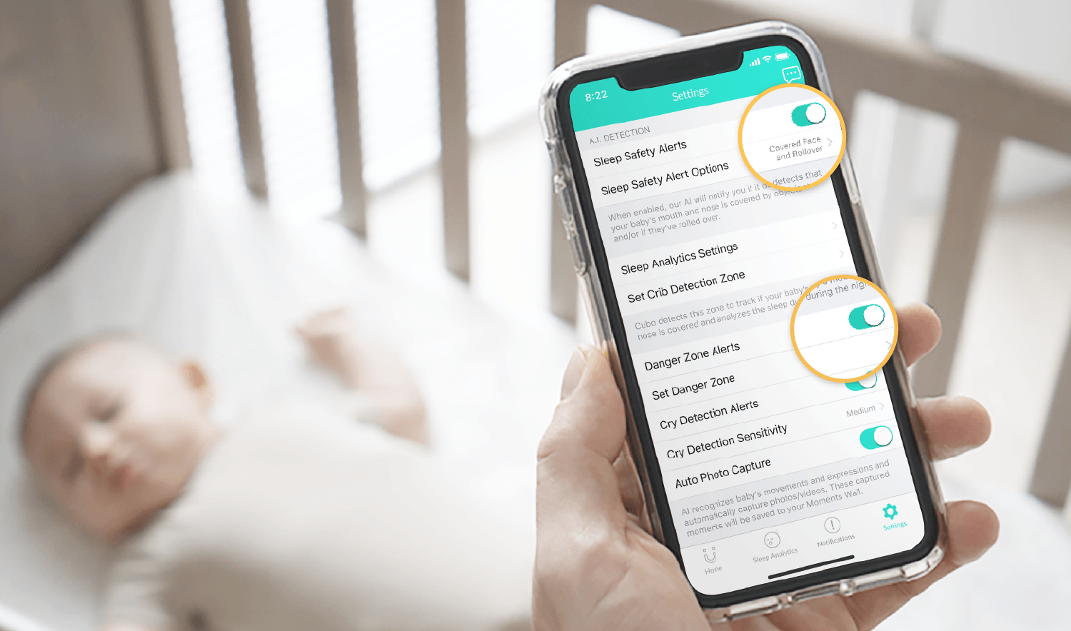 Customizable Safety Alerts | Cubo Ai Smart Baby Monitor