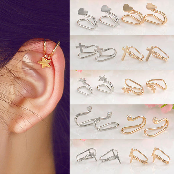 Fashion 1Pc Silvery/Golden Ear Cuff Earrings Women Charming Hot Non Piercing Cartilage Ear Clip