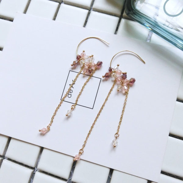 2017 New Korean Accessories Crystal Beads Handmade Long Drop Earrings For Women Long Pendients Brincos  Girls Fashion Wedding