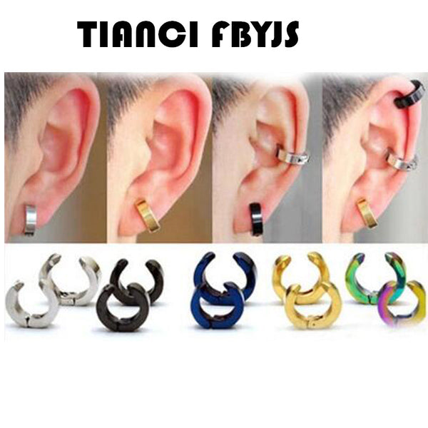 Mens 316L Surgical Steel  Huggie Hoop Fake Non Piercing Clip On Earrings 1 Pairs price