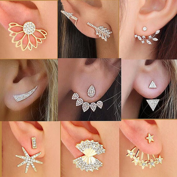 2017 Summer New Style Full Crystal Front Back Double Sided Stud Earrings For Women Fashion Ear Jacket Piercing Earing