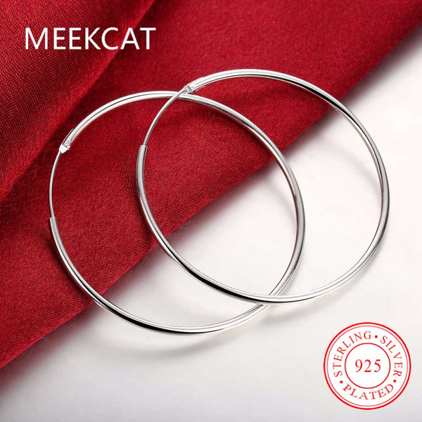 Diameter 5cm Smooth Round Creole Big Hoop earings 925 stamped silver plated Prata Princo Fashion New Jewelry Accessories