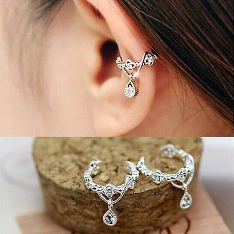 1pc Elegant Women Crystal Rhinestone Water Drop Pendant Ear Cuff Wrap Clip Cartilage Earrings Silver Gold Faux Piercing Jewelry