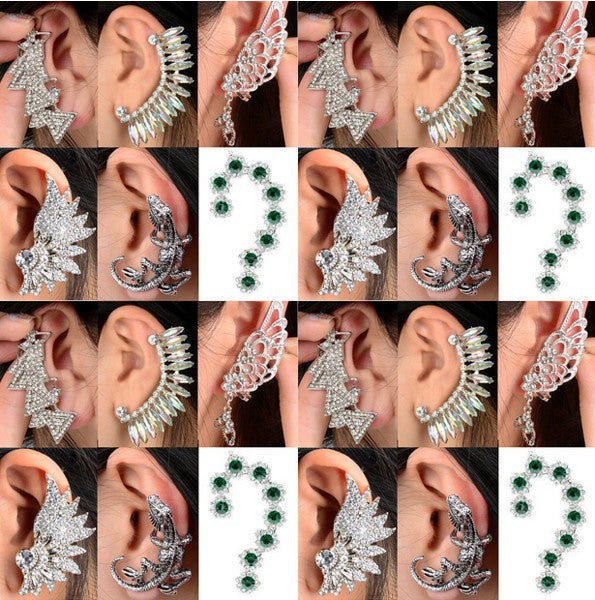 1PC Mix Styles Punk Rock Retro Fashion Earring Crystal Rhinestone Leaf Ear Cuff Warp Clip Stud Fashion Crystal Jewelry Free