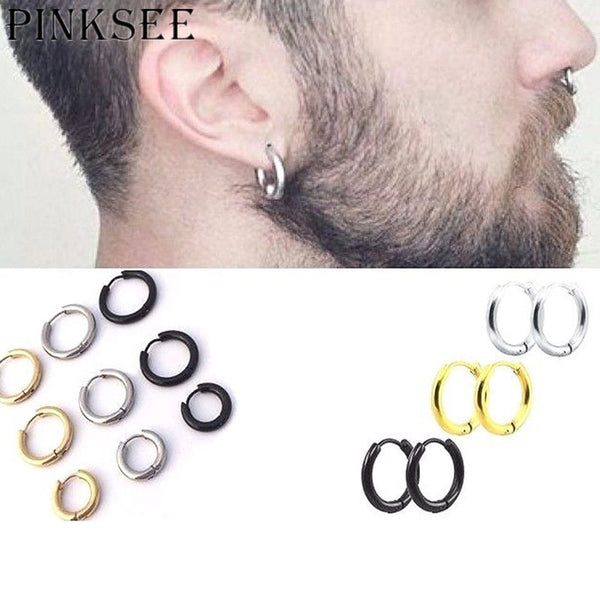 PINKSEE Women Men Fashion Earrings Stud Stainless Steel Material Anti Allergy 3 Color Trendy Style Earrings Jewelry