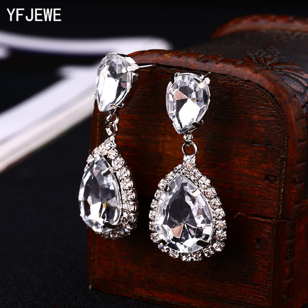 YFJEWE Bride Earrings Cosmetic Geo ZhaoHao Popular Rhinestone Crystal Drop Earring For Wedding Dress Fashion Baldpates  #E043
