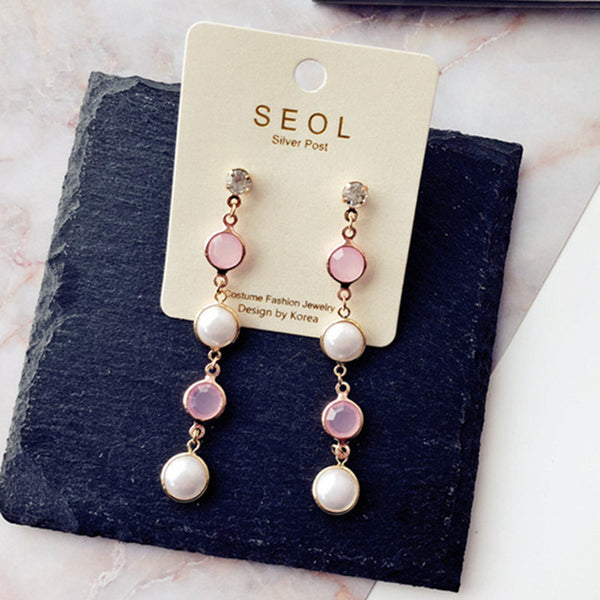 New Design Elegant Half Round Pearl Long Drop Dangle Earrings for Girls Women Boho Trendy Lady Jewelry Brincos Wholesale EC461