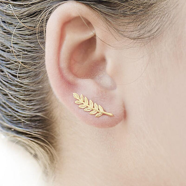 Shuangshuo New Vintage Jewelry Exquisite Feather Earrings for Women Beautiful Tree Simple Leave Earrings Ear clip brincos