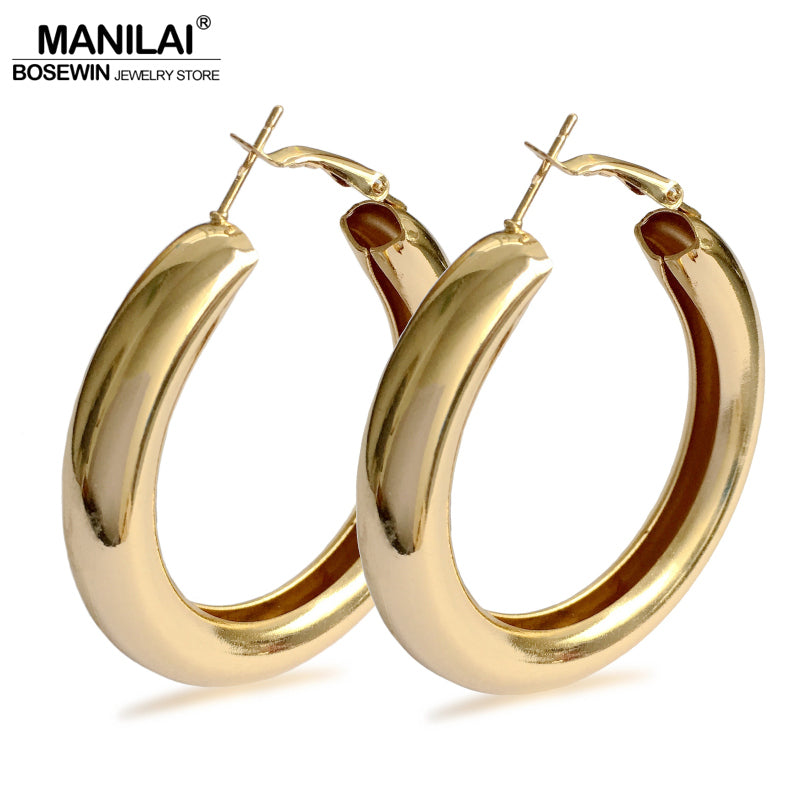 MANILAI 50mm Diameter Wide Alloy Punk Hoop Earrings Fashion Jewelry Statement Earrings For Women 2018 Brincos Wholesale Gift