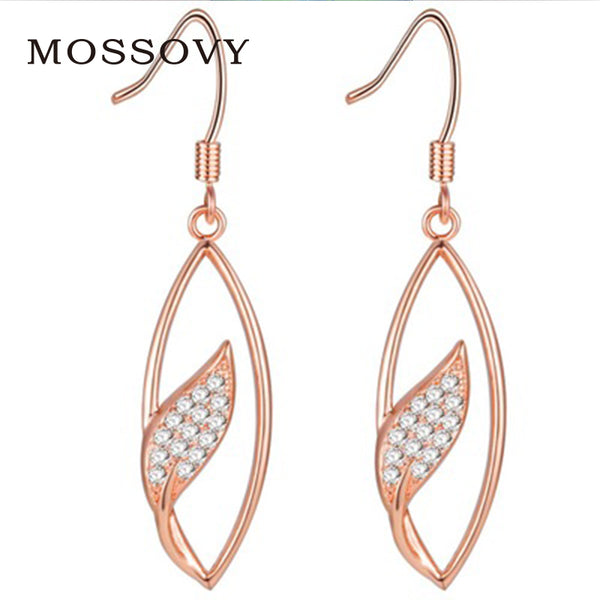 Mosssovy Rhinestone Hollow Out Leaf Hoop Earrings Rose Gold Color Exquisite Ornaments Delicate Zircon Fashion Jewelry for Women