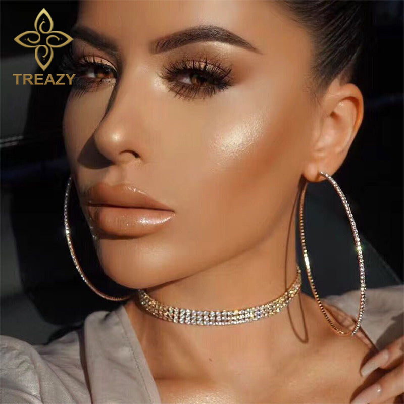 TREAZY 2018 Top Popular Rhinestone Circle Earrings Simple Big Circle Earrings Silver Color Crystal Hoop Earrings For Women Girls