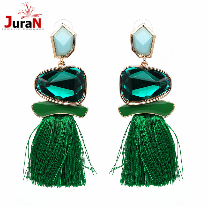 JURAN 2018 New Fringed Statement Earrings Wedding Tassel Multicolored Hot Fashion STUD Earrings Jewelry Women Brinco J50066