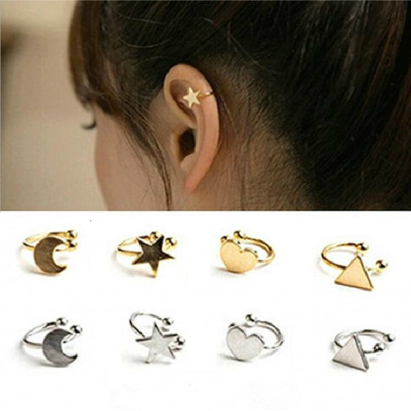 2018 New Arrivals Fashion No Pierced Non-piercing Earcuff Ear Star Moon Heart Triangle Clip-on Clip Earrings For Women Jewelry