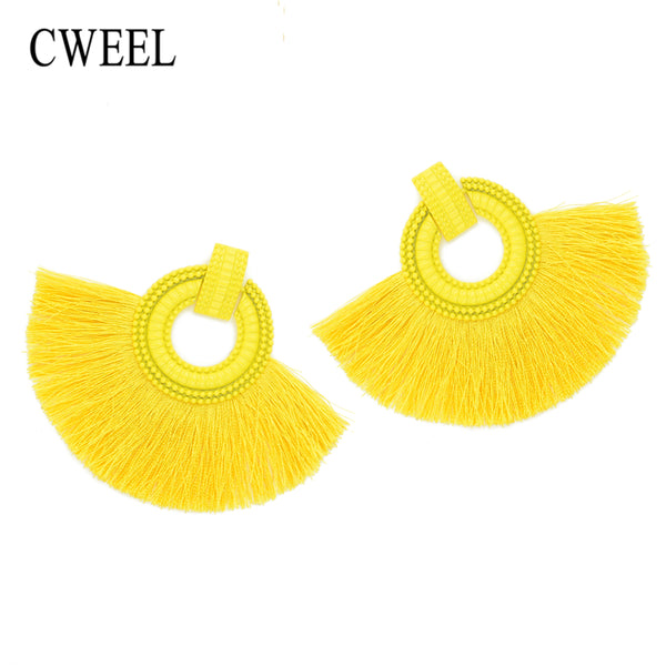 CWEEL Fashion Women Tassel Earrings 2018 Brincos Boho Statement Fringe Earings Circle Vintage Za Dangle Round Earring Jewelry