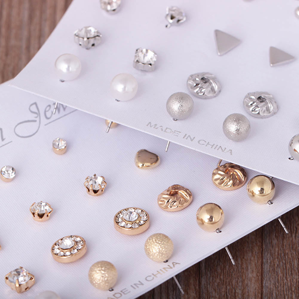 12Pairs/set Fashion Pearl Stud   For Women Hot Selling Triangle/Star/Round Bow Small Earring Set Mix Ear Stud