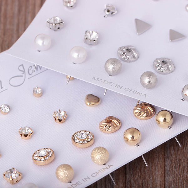 12Pairs set Fashion Pearl Stud For Women Hot Selling Triangle Star Round  Bow Sale · Earrings  All 4910113b2245