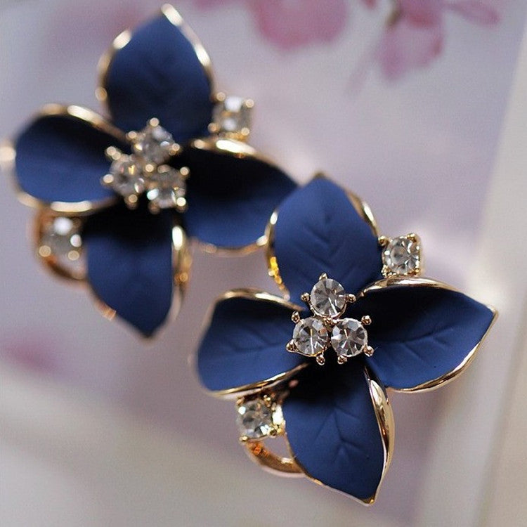 2018 new elegant exquisite noble blue flower ladies gold color rhinestone earrings piercing clip earrings women free shipping