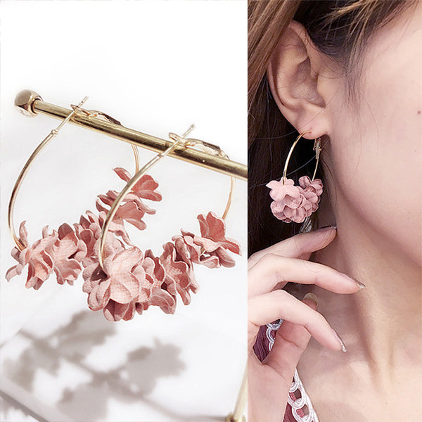 New Design Hoop Earrings For Women Fabric Flower Pending Gold Color Circle Pendientes Female Jewelry Fashion 2018 Argola