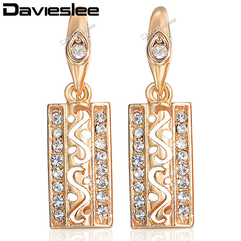 Davieslee Womens Lady Drop Earrings Dangling Cut-out Rectangle 585 Rose Gold Filled Hook LGE89