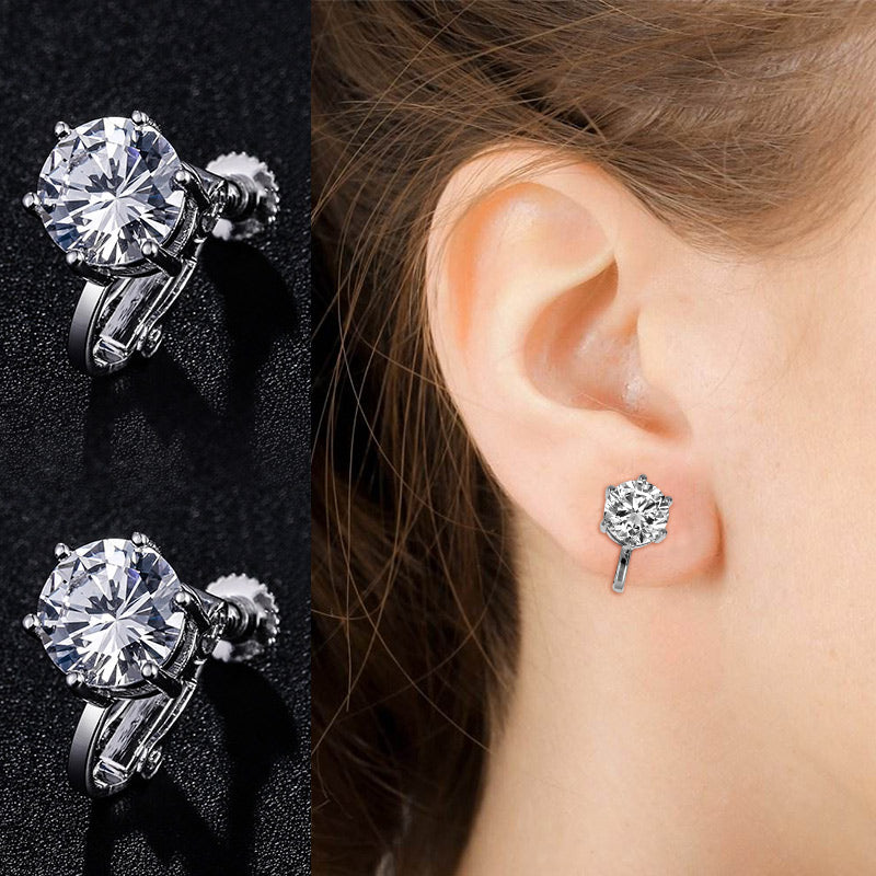 WEIMANJINGDIAN New Arrival Sparking 8MM Round Cubic Zirconia CZ Screw Clip Earrings for Women in White Gold or Rose Gold Colors