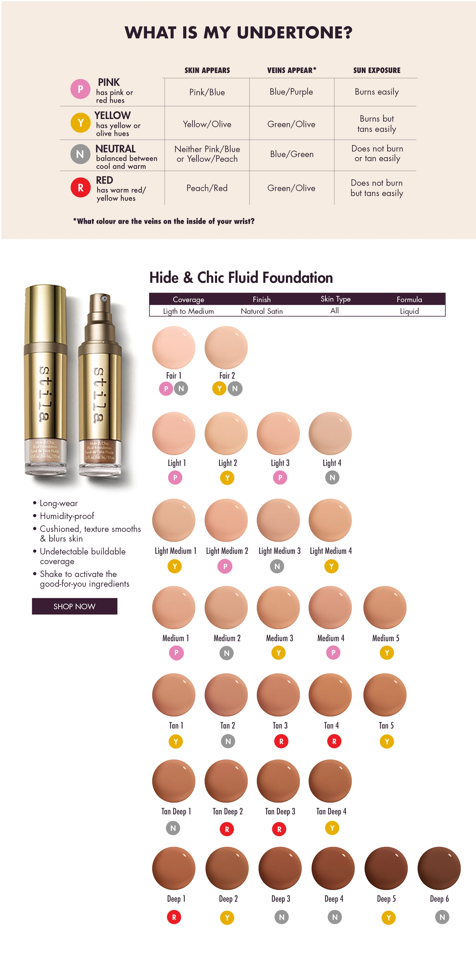 Stila Hide & Chic Fluid Foundation Shade Finder