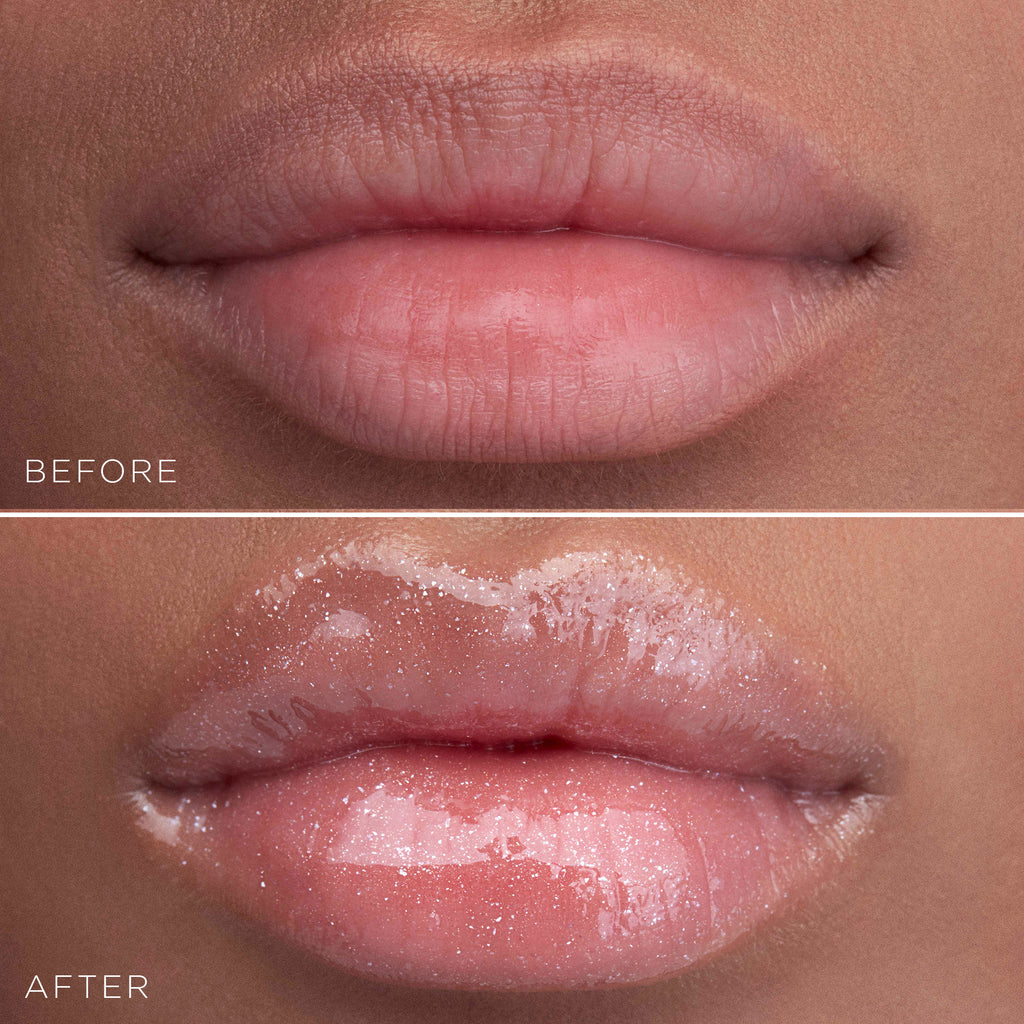 Stila Plumping Lip Glaze Before and After Tan