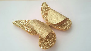 Gold Butterfly Hair Bow, Fairy Bow Hair Clip