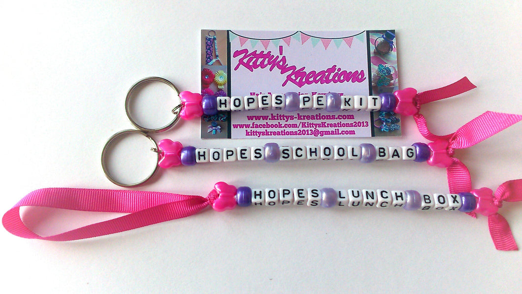 School bag tag set, back to school accessories