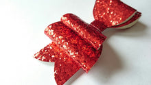 Load image into Gallery viewer, Ruby Red Glitter Hair Bow